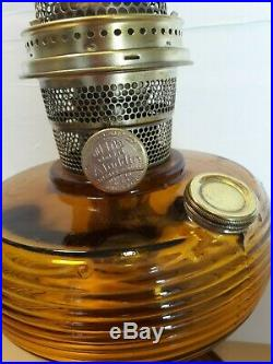 Vintage 1937-38 Aladdin B-82D Amber Dark Crystal Kerosene Oil Lamp