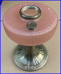 Vintage 1937-39 Silver Aladdin B-98 Rose Moonstone Queen Kerosene Oil Lamp