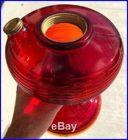 Vintage 1937 Aladdin Ruby Red Glass Beehive Kerosene Oil Lamp Model B Burner WOW