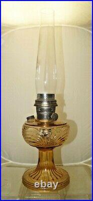 Vintage 1941 42 Aladdin Washington Drape Amber Tint Oil Lamp & Chimney