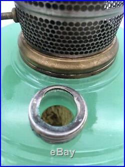 Vintage 40s Aladdin Green Jadeite Glass Kerosene Oil Lamp Model B Burner Hanging