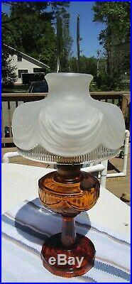 Vintage ALADDIN Amber Glass Lincoln Drape Oil Kerosene Lamp 23 Burner Mantle