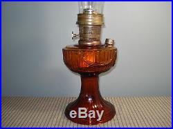 Vintage ALADDIN Amber Lincoln Drape Kerosene Oil Lamp #23 Dated 1979