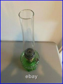 Vintage ALADDIN GREEN CORINTHIAN LAMP with MODEL B BURNER AND CHIMNEY