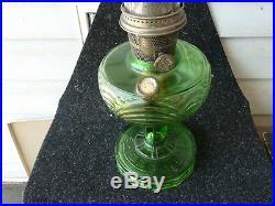 Vintage ALADDIN Kerosene OiL LAMP GREEN Washington Drape with wicker and globe