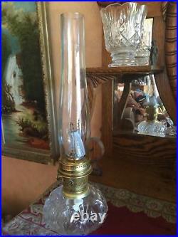 Vintage ALADDIN MODEL 23 BRASS KEROSENE OIL TABLE LAMP US Patent Hurricane Shade