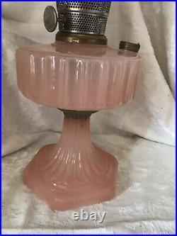 Vintage ALADDIN MOONSTONE Rose Pink CORINTHIAN Oil Lamp 1930-35 Model-B