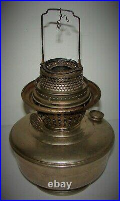 Vintage ALADDIN Model 12 Nickel Kerosene Oil Lamp with Burner Parts or Restoration