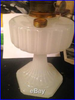 Vintage ALADDIN White Moonstone Corinthian Art Glass Kerosene Oil Lamp with Shade