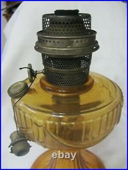 Vintage Aladdin Amber Color Short Lincoln Drape Lamp Model B Circa 1939