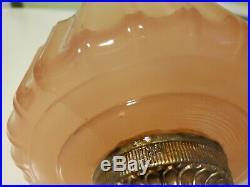 Vintage Aladdin B-112 Rose Pink Moonstone Glass Lamp font only 1 of 2 Q. Ship