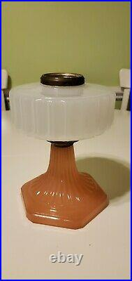 Vintage Aladdin B-126 White over Pink Moonstone Corinthian Glass Lamp font only