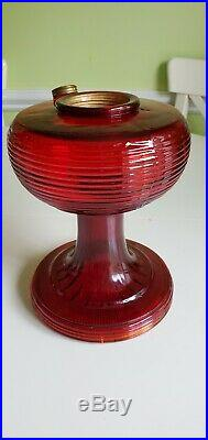 Vintage Aladdin B-83 Ruby Red Beehive Glass Lamp font only 1of2