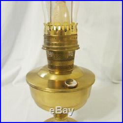 Vintage Aladdin Brass Kerosene Lamp with Wick, Mantle & Gallery with Glass Chimney