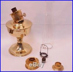 Vintage Aladdin Bright Brass Kerosene Oil Lantern Accent Table Lamp with Chimney
