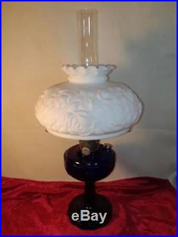 Vintage Aladdin Cobalt Tall Lincoln Drape Lamp w Special Antique Shade & Chimney