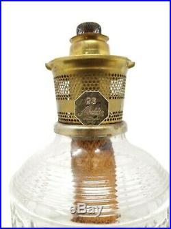 Vintage Aladdin Colonial Squares Shelf Table Lamp Clear Oil Kerosene # 23 Burner