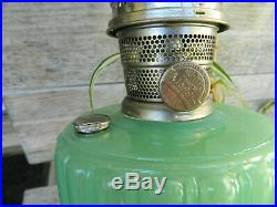 Vintage Aladdin Corinthian Green Jadeite Kerosene Oil Lamp