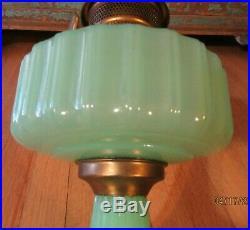 Vintage Aladdin Corinthian Green Jadeite Moonstone Kerosene Oil Lamp with Burner