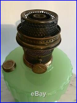 Vintage Aladdin Corinthian Green Jadeite Moonstone Oil Lamp w Burner