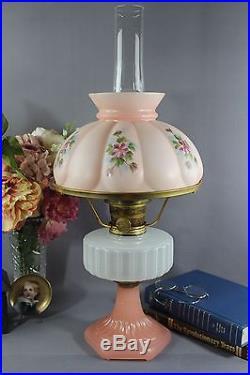 Vintage Aladdin Corinthian Model B White & Rose Moonstone Kerosene Oil Lamp 1936