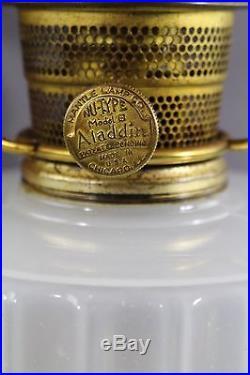 Vintage Aladdin Corinthian Model B White & Rose Pink Moonstone Oil Lamp 1936