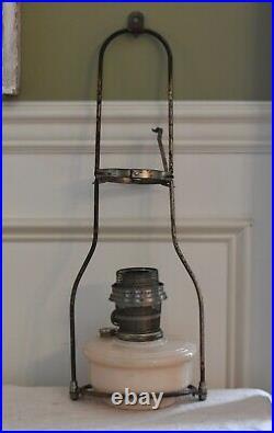 Vintage Aladdin Cream Glass Kerosene Oil Lamp Model B Hanging Lamp witho Chimney