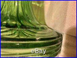 Vintage Aladdin Green Glass Washington Drape Round Base Oil Lampall Original