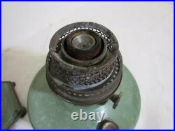 Vintage Aladdin Green table Lamp Model C metal base & tank kerosene oil light