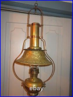 Vintage Aladdin Hanging Model 6 Oil Lamp Frame Glass & Brass Shade Chimney Font