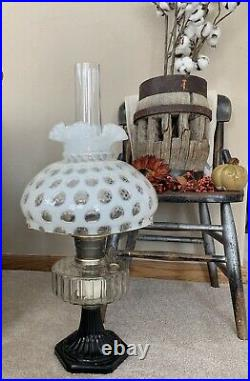 Vintage Aladdin Kerosene Lamp Corinthian & Fenton White Coin Dot Shade