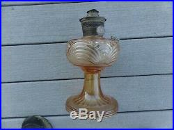 Vintage Aladdin Kerosene Oil Lamp Vintage Amber Yellow Drape Pattern 69.99 Nr