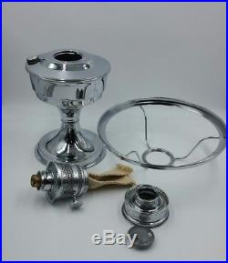 Vintage Aladdin Kerosene Oil Mantle Table Lamp #23 With Handpainted Shade