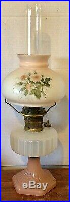 Vintage Aladdin Lamp B-126 Corinthian White & Pink Moonstone Kerosene Lamp