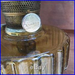 Vintage Aladdin Lamp Cathedral 109 Amber Font With Nu-Type model B Burner