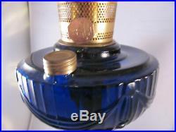 Vintage Aladdin Lincoln Drape Cobalt Blue Kerosene Lamp with Chimney Unused Clean
