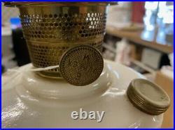 Vintage Aladdin Lincoln Drape Pink Milk Glass Oil Lamp