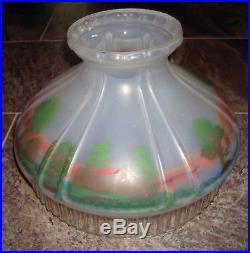 Vintage Aladdin Mantle Co 601 S Log Cabin Scenic Oil Kerosene Glass Lamp Shade