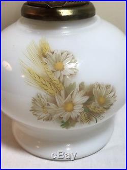 Vintage Aladdin Milk Glass Daisy Wheat Kerosene Oil Lamp