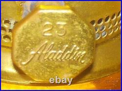 Vintage Aladdin Model 23 Amber Heavy Glass Short Lincoln Drape 12 Oil Lamp