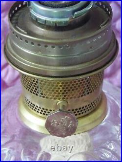 Vintage Aladdin Model 23 Clear Glass Leaves Kerosene Lamp w Burner + New Mantle