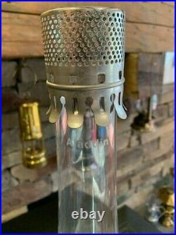 Vintage Aladdin Model 23 Nickel Plated with Lox-on Kerosene Lamp withglass Chimney