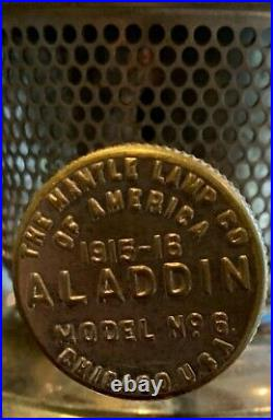 Vintage Aladdin Model 6 Nickel Plated 1915 Kerosene Lamp with topper Chicago USA