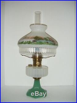 Vintage Aladdin Model B-125 Corinthian Design Kerosene Lamp-white / Green