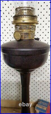 Vintage Aladdin Model B Bakelite Pedestal Oil Kerosene Lamp with Glass Chimney