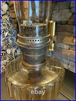 Vintage Aladdin Model B Glass with Chimney brass topper Kerosene Lamp Chicago
