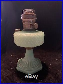 Vintage Aladdin Model B Nu-type Jadeite Kerosene Lamp Quilted Diamond