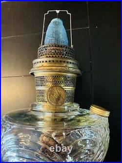 Vintage Aladdin Model B Washington Drape Clear Glass Oil Lamp w Aladdin Chimney