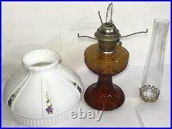 Vintage Aladdin Model C Original Amber Chimney 24 Hand Painted Shade Oil Lamp