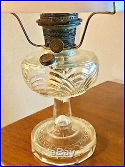 Vintage Aladdin NU-TYPE Model B Floral Milk Glass 24 Lamp, Chicago, U. S. A